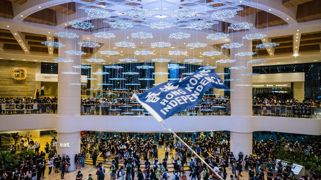 Protesters demand independence at a rally in a shopping mall in Hong Kong on June 15. AFP VIA GETTY IMAGES